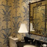 overscaled wallpaper in small bath
