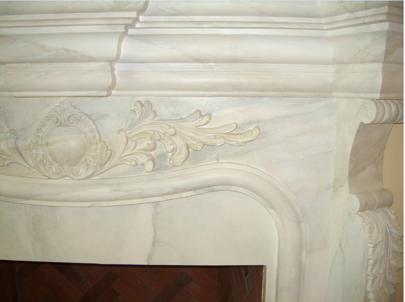 mantel detail marble finish