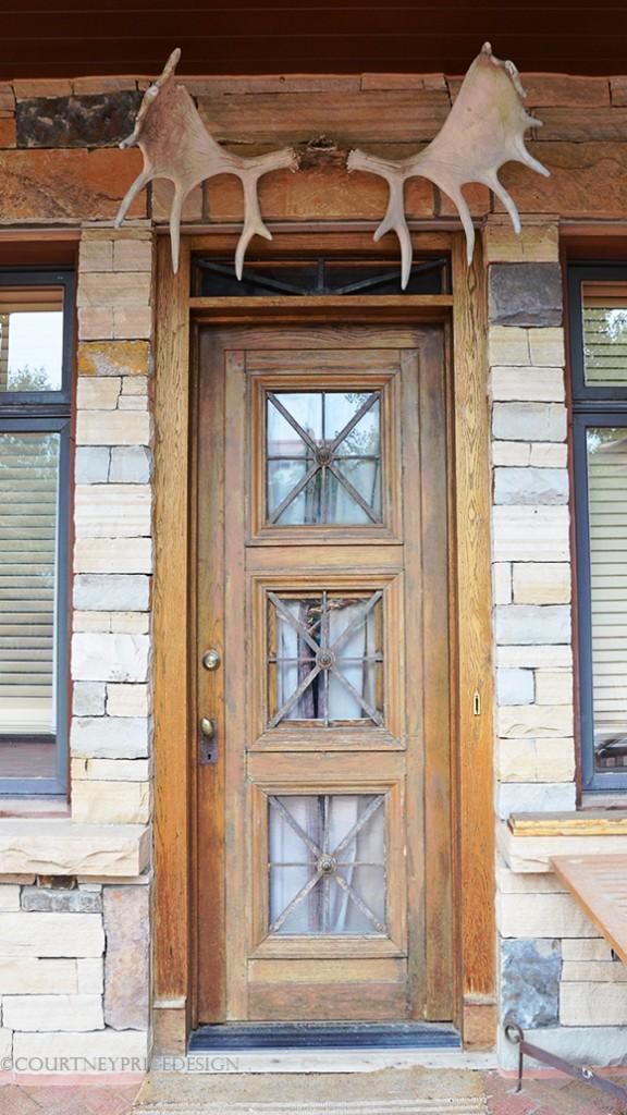 Antlers over door, moose antlers, ski house, mountain home,