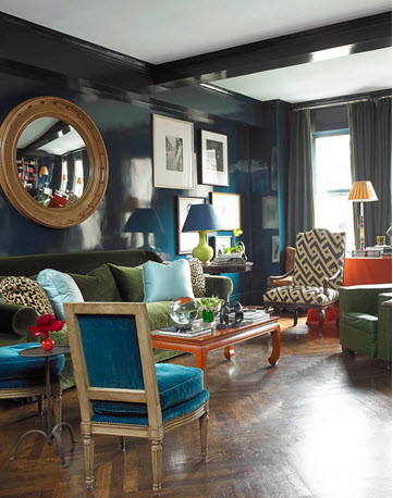 high gloss blue walls MILES REDD- HOUSE BEAUTIFUL