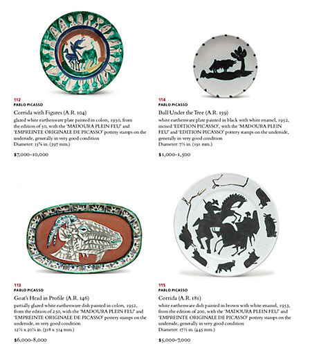 Picasso Plates Christies Auction Catalog
