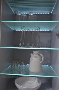 motion sensored LED lit shelves