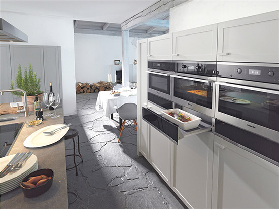 Kitchen design- warming drawers, white lacquered cabinets