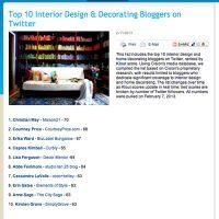 Top 10 Interior Design & Decorating Bloggers on Twitter