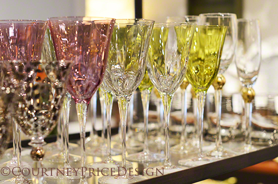 stemware, beautiful colored glasses, table crystal