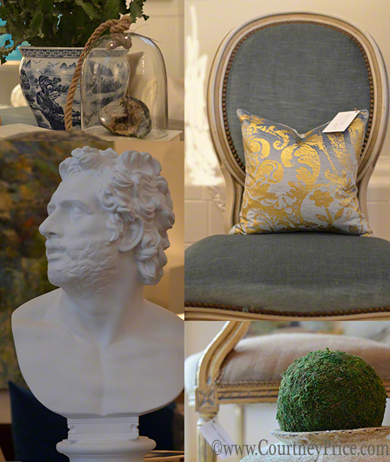 New Orleans Shopping, Magazine street shopping, beautiful chair, accent pillow, bust,