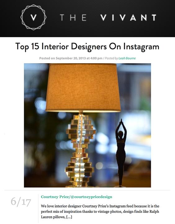 Top Instagram, Top Interior Designers
