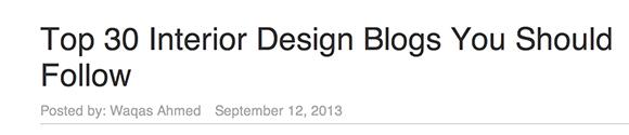 Top 30 Interior Design Blogs
