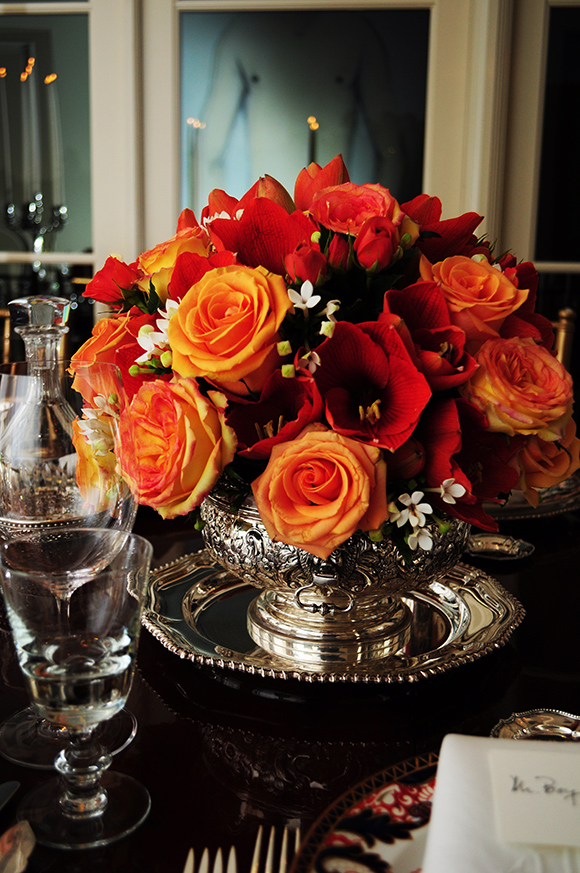 Floral centerpiece in silver punchbowl