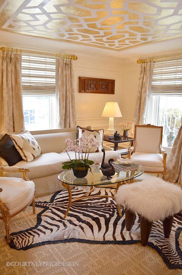 gold stenciled ceiling, zebra rug, ivory room, feminine decor