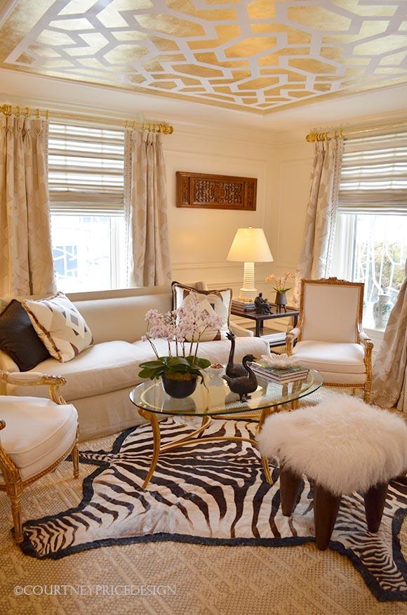 gold stenciled ceiling, zebra rug, ivory room, feminine decor