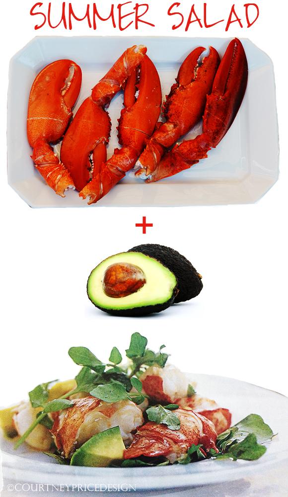 Summer Salad, avocado, lobster, summer menu, summer entertaining, great salad, healthy salad