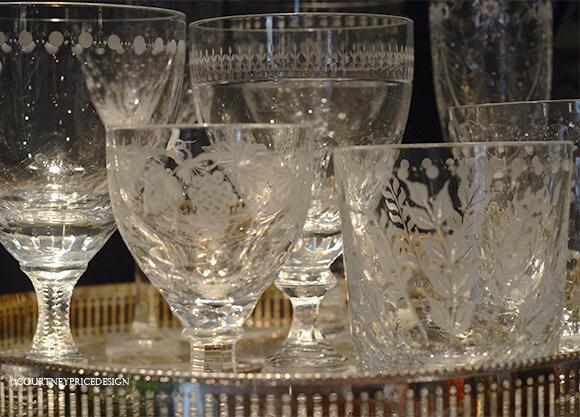 crystal glasses, water glasses, cocktail glasses