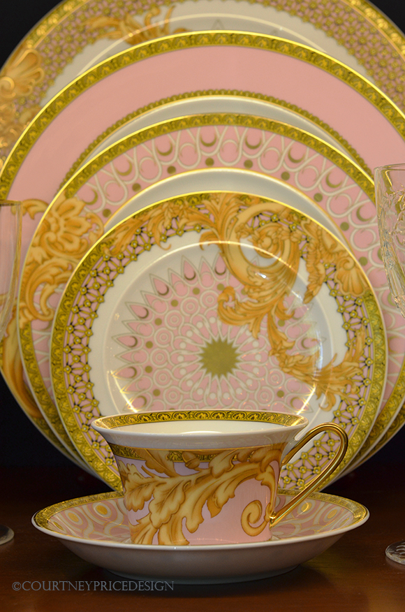 pink and gold china, mixed china pattern
