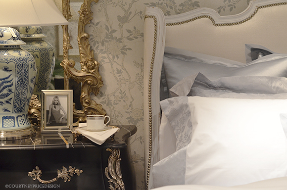 Delightful Feminine Bedroom Decor, Ralph Lauren Bed, White Bedding, White Sheets, Blue  And Pictures