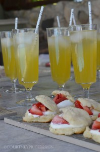 Cocktails and appetizers, party food, strawberry shortcakes, champagne cocktails