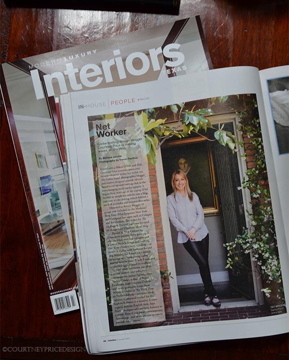 Courtney Price Featured in Modern Luxury Interiors Magazine