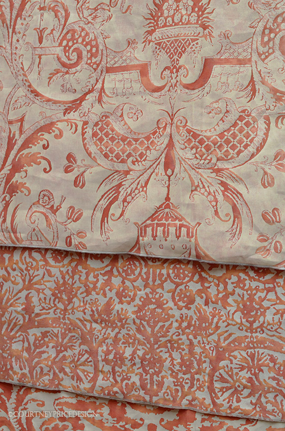 Fortuny Orange Fabrics, fabric, fortuny,