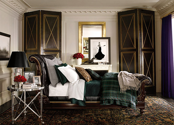 Ralph Lauren, Apt No 1, bedroom, interior design, british style, as seen on CourtneyPrice.com