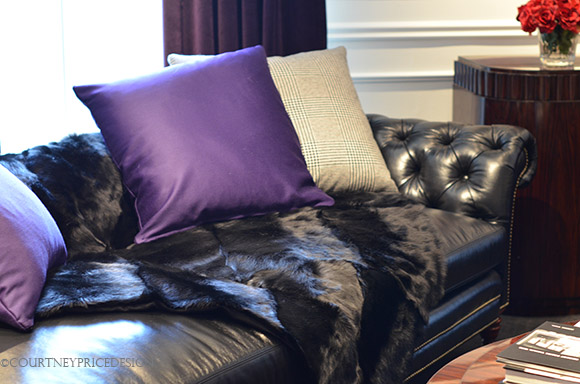 Ralph Lauren Sofa, purple pillows, magenta satin pillows, fur throw, as seen on CourtneyPrice.com