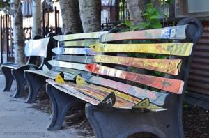 ski benches, downtown Telluride