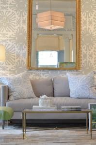 Wallpaper, sofa, big mirror, interior design, Dallas, 75205, 214, contemporary design, interior design, decor