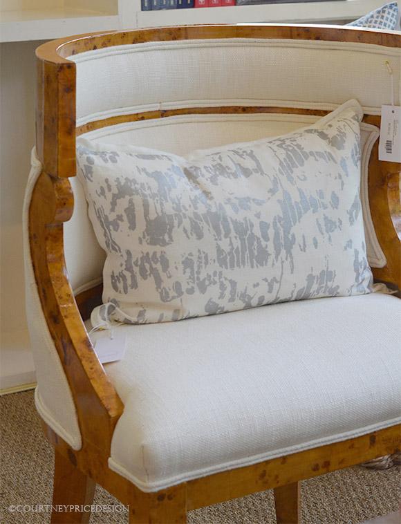 Blue Print, biedermeier chair, decorative pillow, contemporary design- as seen on www.CourtneyPrice.com