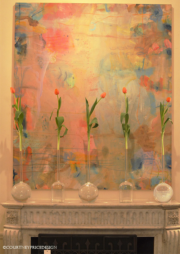 Contemporary art, decorating mantel, mantel decor, fresh flowers, interior design, color, abstract art, contemporary art