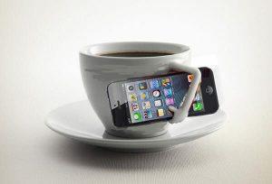 iphone coffee, social media