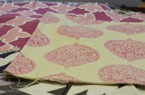 Madeline Winerib Fabric, Pink and white pattern
