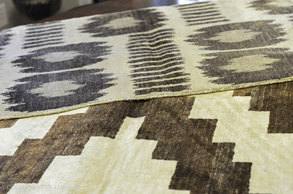 tribal pattern, Madeline Weinrib Rugs, rustic rug, silk and wool rug, on www.CourtneyPrice.com