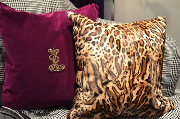 leopard pillow, Ralph Lauren crest pillow, velvet pillow on www.CourtneyPrice.com