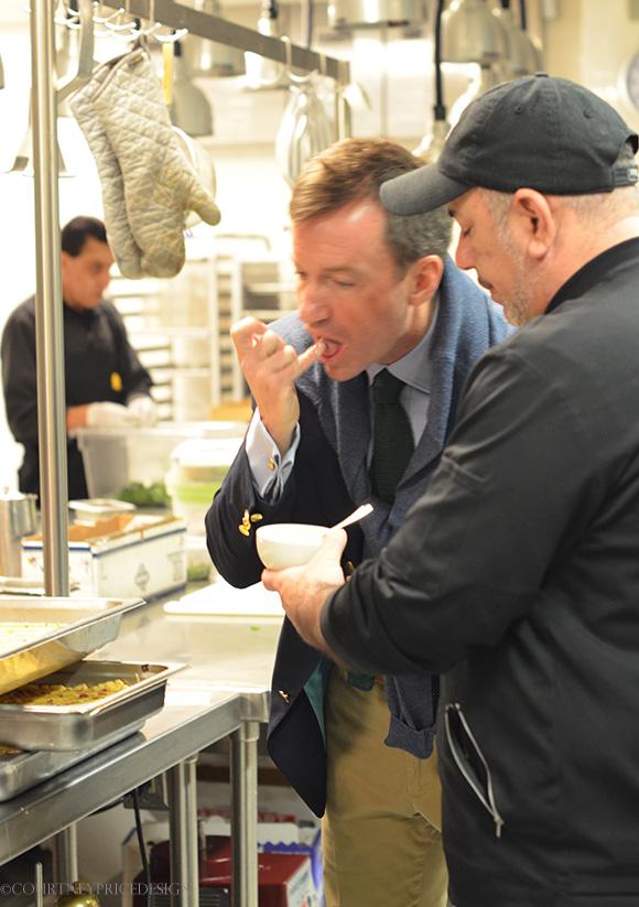 Alex Hitz checks the food on www.CourtneyPrice.com