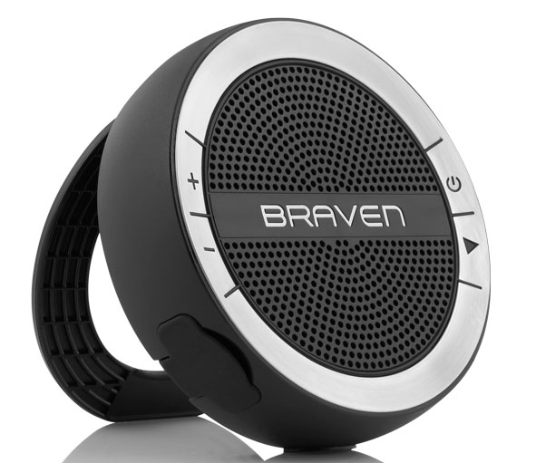 Water resistant portable speaker with ring to hang or stand on www.CourtneyPrice.com