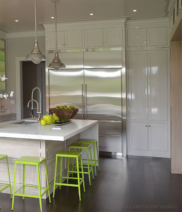 Sub-Zero, Lacquered cabinets, white kitchen, Hampton Showhouse on www.CourtneyPrice.com