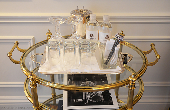 In room bar carts at St Regis Hotel NYC on www.CourtneyPrice.com
