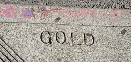 Gold Sidewalk Stamp at Bix in San Francisco on www.CourtneyPrice.com