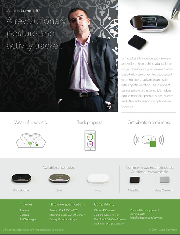 Lumo Lift Gadget - posture, activity tracker- via #girlTECH on www.CourtneyPrice.com