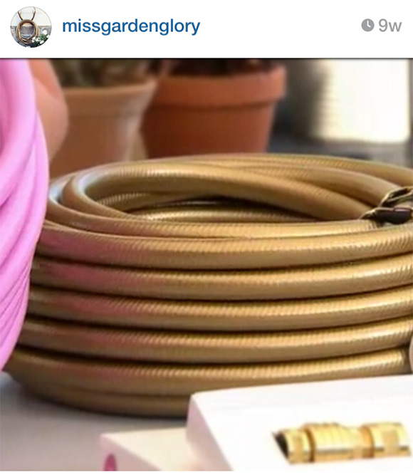 Gold garden hose, on www.CourtneyPrice.com