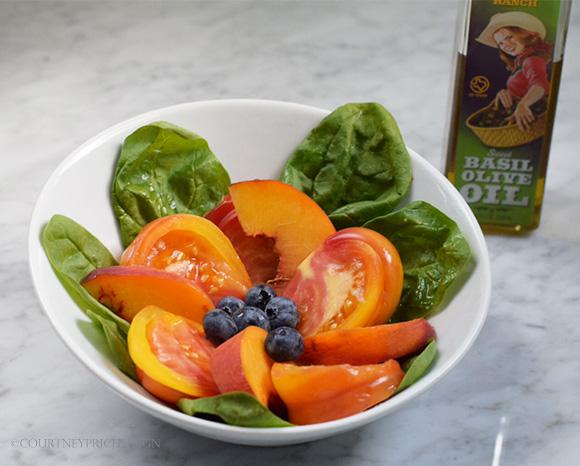 Peach Heirloom Tomato Salad on www.CourtneyPrice.com