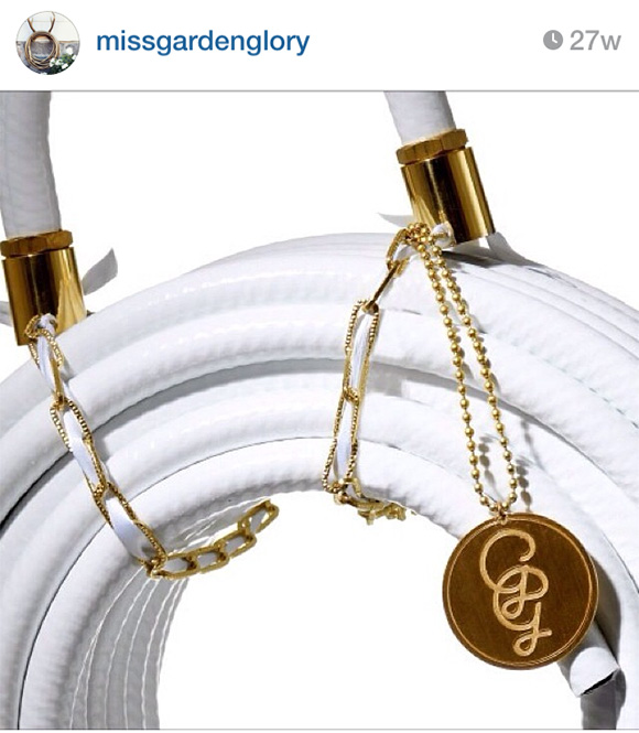 White garden hose, on www.CourtneyPrice.com