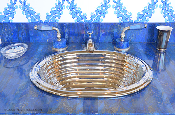 Lapis and Deco Sink,luxury bath, Sherle Wagner on www.CourtneyPrice.com