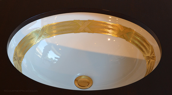 Acanthus, Gold Banded Sink,luxury bath, Sherle Wagner on www.CourtneyPrice.com