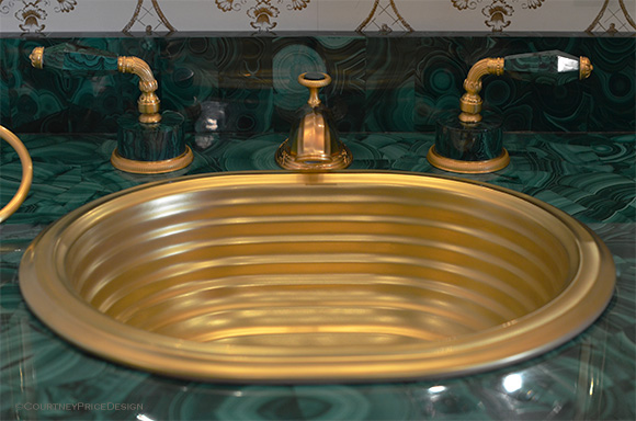 Malachite fixtures, deco sink, luxury bath, Sherle Wagner on www.CourtneyPrice.com
