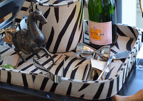 Zebra Tray and barware on www.CourtneyPrice.com