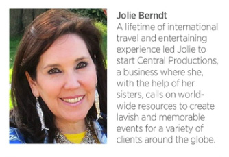 Most talented TX hostess:  Jolie Berndt of Central Productions- High-End Party Strategy and Execution, See Top 10 Entertaining Tips on www.CourtneyPrice.com