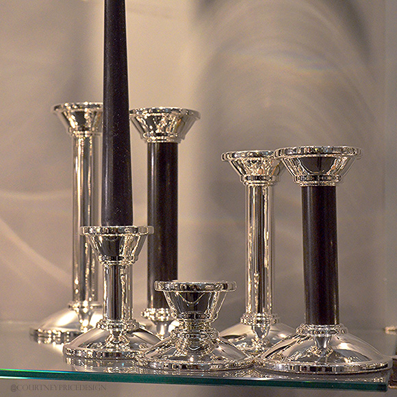 Silver And Onyx Candlesticks, Dining Trends on www.CourtneyPrice.com