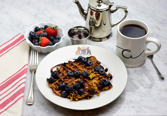 Blueberry Sweet Potato Waffle- Healthy Spiralized SPA food- on CourtneyPrice.com http://wp.me/p2e5e8-4Em