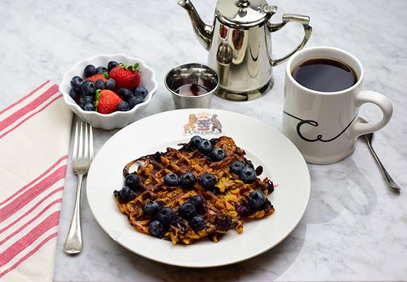 Blueberry Sweet Potato Waffle- Healthy Spiralized SPA food- on CourtneyPrice.com http://wp.me/p2e5e8-4Em