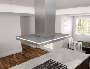 Zephyr's Luce Island Vent Hood, with ICON touch control and LED lighting